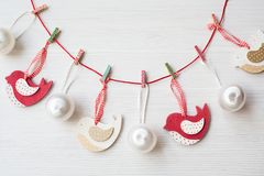 Christmas theme background. With decorating elements and on white wood table Royalty Free Stock Photography