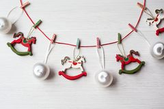 Christmas theme background. With decorating elements and on white wood table Stock Photos
