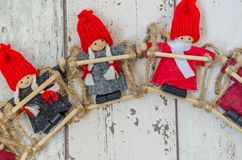 Christmas theme background. Photography Christmas background with dwarf puppets Royalty Free Stock Photo