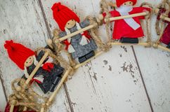 Christmas theme background. Photography Christmas background with dwarf puppets Stock Photography