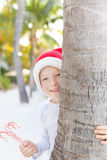 Christmas theme at the beach Royalty Free Stock Image