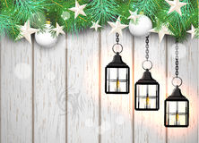 Christmas theme with black lanterns on white Royalty Free Stock Images