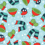 Christmas theme, with bullfinch, mittens, scarves, Stock Images