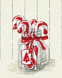 Christmas theme, candy canes in glass jar with red ribbon , illustration Royalty Free Stock Image