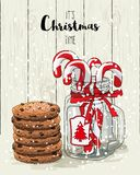Christmas theme, candy canes in glass jar with red ribbon and stack of cookies, illustration Stock Photos