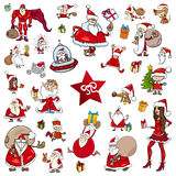 Christmas theme cartoons. Cartoon Illustration of Christmas Characters and Design Elements Clip Arts Set Royalty Free Stock Photo