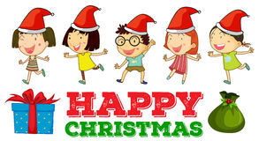 Christmas theme with children in party hats Stock Image
