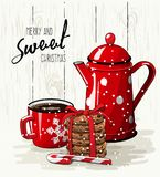 Christmas theme, red cup of coffee, stack of cookies and tea pot, illustration Stock Photos