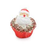 Christmas theme cupcake. Christmas (Santa) cupcake isolated on white Royalty Free Stock Photo