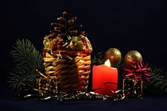 Christmas Theme. Christmas decoration with candles and ornaments stock photos