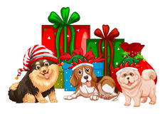 Christmas theme with dogs and presents Royalty Free Stock Image