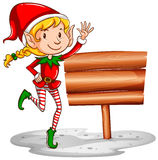 Christmas theme with elf and sign. Illustration Royalty Free Stock Photography
