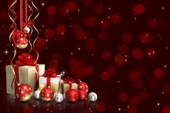 Christmas theme with glass balls and gift boxes and free space for text Royalty Free Stock Images