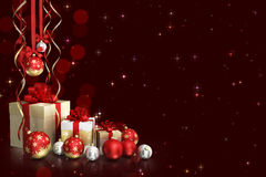 Christmas theme with glass balls and gift boxes and free space for text Royalty Free Stock Photo