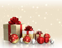 Christmas theme with glass balls and gift boxes and free space for text Stock Photography