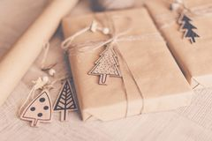 Christmas theme. Handmade Gift wrapping for Christmas and New Year. royalty free stock photo