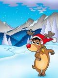 Christmas theme with happy reindeer Stock Photos