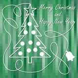 Christmas Theme In Modern Design, Christmas Tree With Star And Christmas Balls In White Outline On Green Pixelated Background. Me Stock Photos