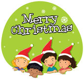 Christmas theme with kids in red hat. Illustration Royalty Free Stock Photo