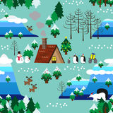 Christmas theme landscape seamless pattern close up Royalty Free Stock Image