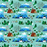 Christmas theme landscape seamless pattern Royalty Free Stock Photo