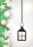 Christmas theme with old black lantern Royalty Free Stock Photography