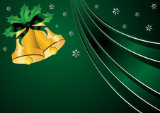 Christmas theme over green. Christmas bells ornamented with holly and ribbon over green background Royalty Free Stock Photos