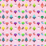 Christmas theme pinetree and reindeer sweety seamless pattern Stock Photo