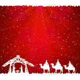 Christmas theme on red background Royalty Free Stock Images