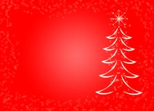 Christmas theme red background fir pine tree snow snowflake magical sparkly decorative. Christmas theme red background with tree, snow and star. Ideal for Royalty Free Stock Image