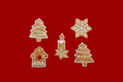 Christmas theme on red background. Stock Photography