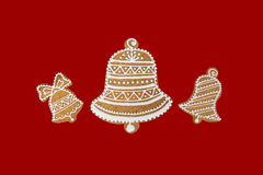 Christmas theme on red background. Stock Photos