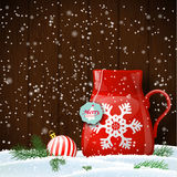 Christmas theme, red cup with abstract snowflake Royalty Free Stock Photo