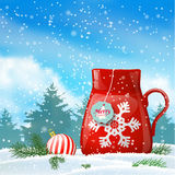 Christmas theme, red cup with abstract snowflake Royalty Free Stock Images