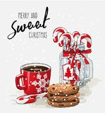 Christmas theme, red cup of coffee with red ribbon. Christmas theme, Christmas theme, red cup of coffee with red ribbon, stack of cookies and candy canes in Royalty Free Stock Photos