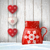 Christmas theme, red cup with cute decoration in front of gray wooden wall, illustration Royalty Free Stock Photography