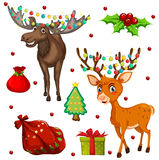 Christmas theme with reindeers and presents Royalty Free Stock Photo