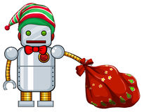 Christmas theme with robot and red bag. Illustration Royalty Free Stock Photo