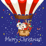 Christmas theme with Santa on balloon. Illustration Royalty Free Stock Image