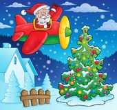 Christmas theme Santa Claus in plane Royalty Free Stock Photography