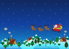 Christmas theme santa claus reindeer over hills Royalty Free Stock Images