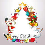 Christmas theme with Santa and ornaments Royalty Free Stock Image