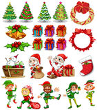 Christmas theme with Santa and ornaments Stock Photos