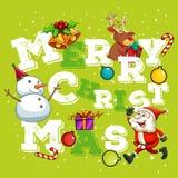Christmas theme with Santa and snowman Stock Photo