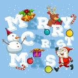 Christmas theme with Santa and snowman Royalty Free Stock Photo