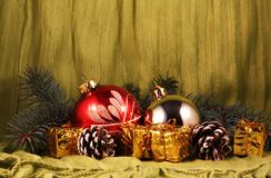 Christmas Theme. Still life with two glass ornaments round royalty free stock images
