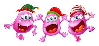 Christmas theme with three aliens. Illustration Stock Photos