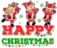 Christmas theme with three reindeers dancing Royalty Free Stock Image