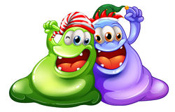 Christmas theme with two monsters having party. Illustration Royalty Free Stock Photography