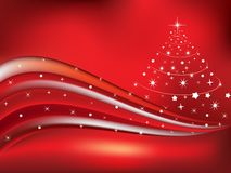 Christmas theme with wave concept. With red backgrond Stock Images